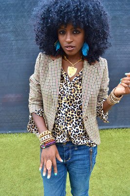 Look of the Week- Plaid Blazer + Leopard Print Shirt