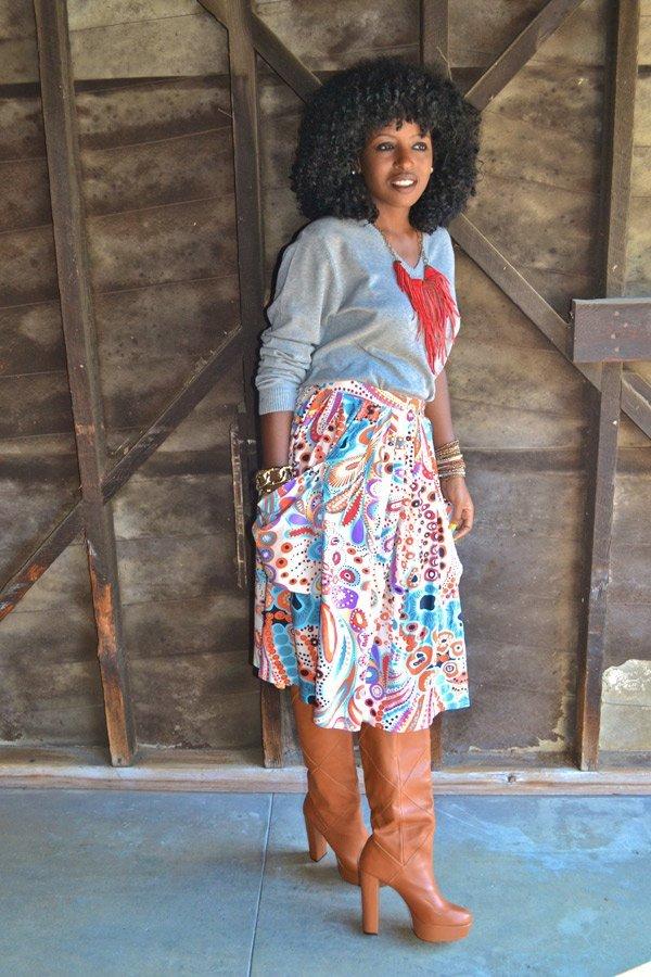 Look of the Week- Mens Sweater + Printed 70s Skirt