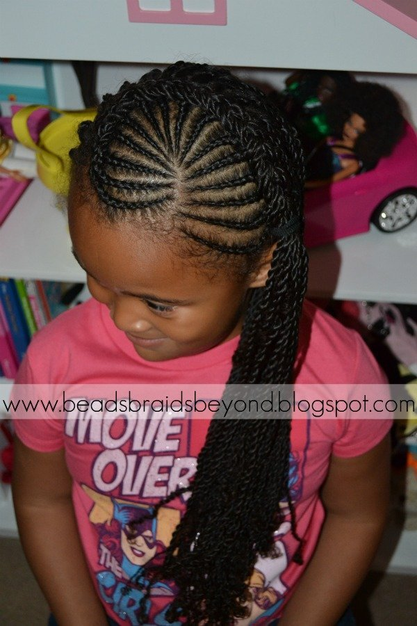 Cornrows & Sister Twists Braided to the Side