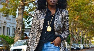 Look of the Week- Sequin Blazer + Tuxedo Shirt