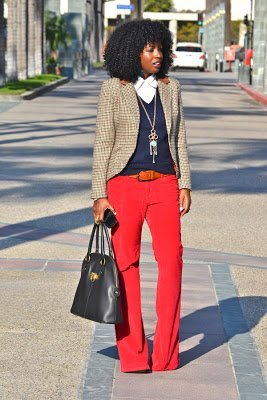 Look of the Week- Plaid Blazer + V-Neck Sweater