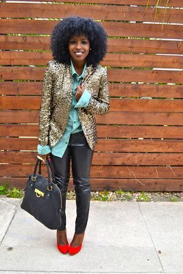 Look of the Week: Gold Sequin Blazer + Leather Pants