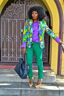 Look of the Week- Floral Blazer + Purple Button-Up