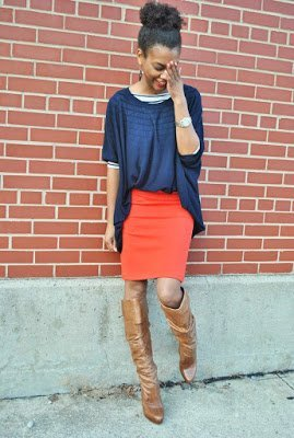 Naturally Fashionable- Red Skirt + Blue Sweater