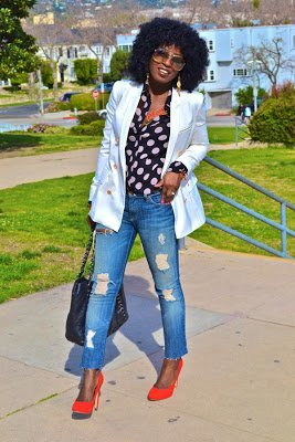 Naturally Fashionable- White Blazer & Polka Dots