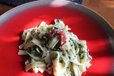 Let's Cook- Fettuccine w/ Spinach & Tomato Alfredo