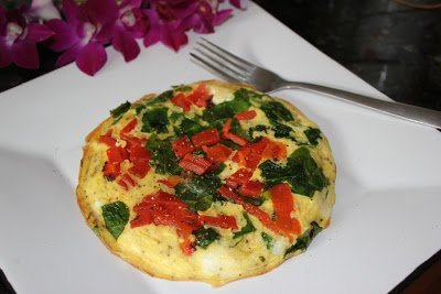 Egg Frittata with Roasted Red Peppers & Spinach
