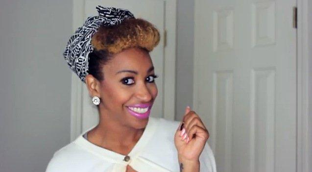 Retro Bang and Headscarf- Natural Hair Style