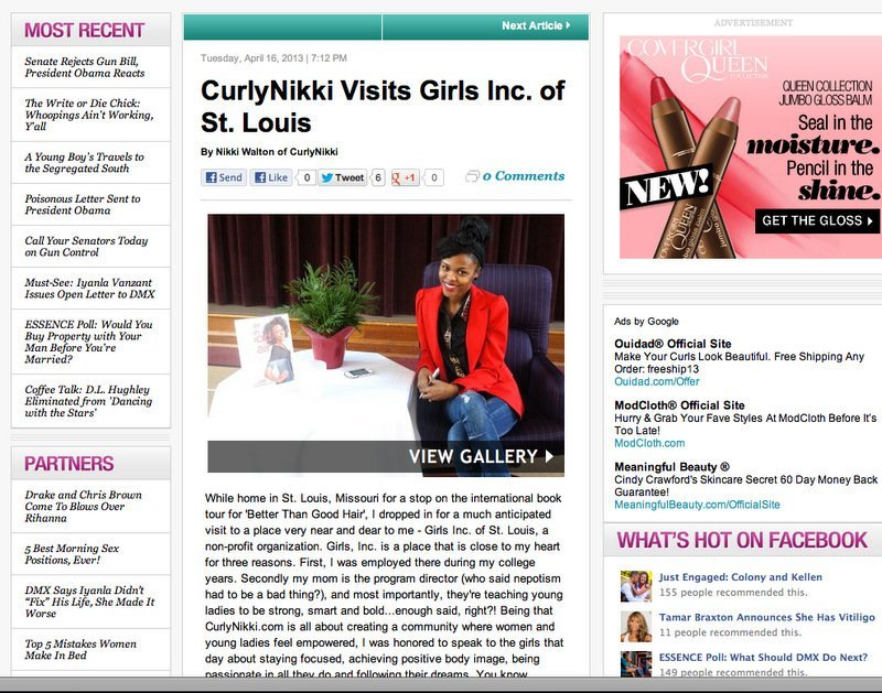 Today on Essence- My Visit to Girls Inc of St. Louis