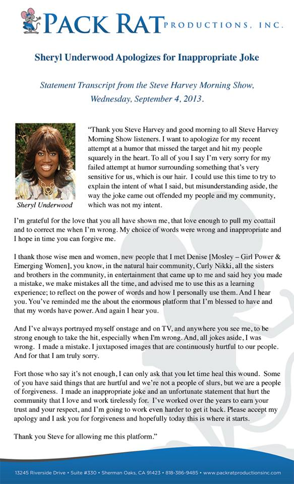 Sheryl Underwood Apologizes for Natural Hair Remarks on The Steve Harvey Morning Show