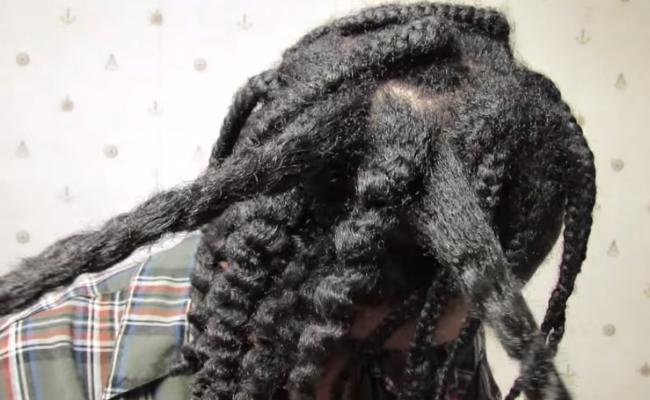 4C Natural Hair Styles- Ninja Bun Braid-Out