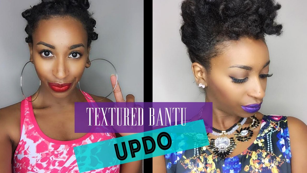 Textured Bantu Knot-Out Updo- Natural Hair Styles