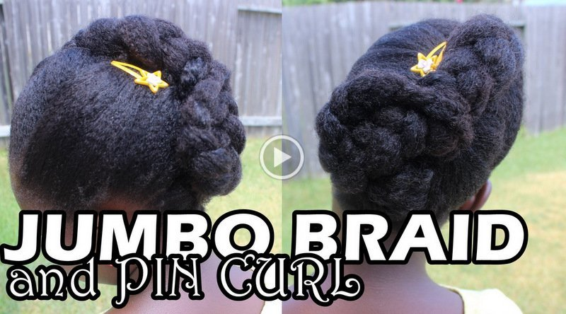 Natural Hair Styles for Kids- Jumbo Braid and Pin Curl!