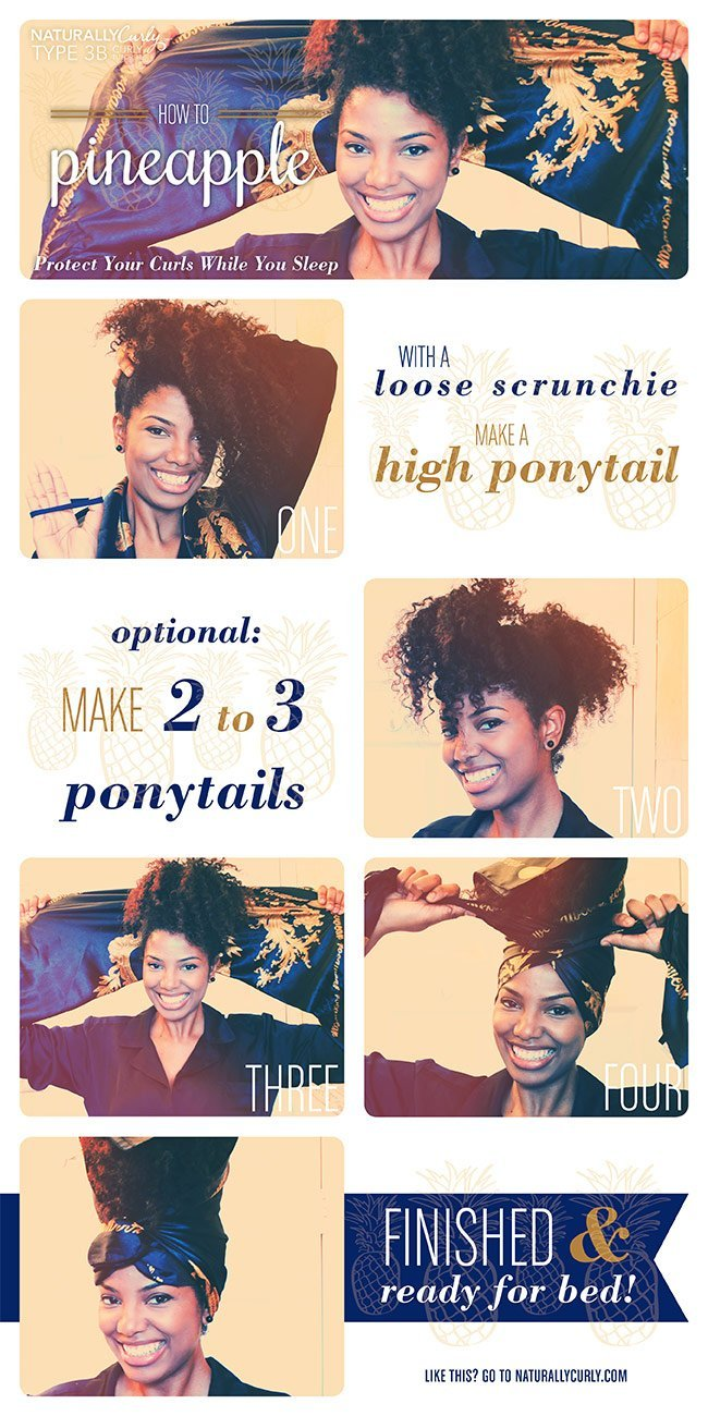 How to Pineapple Natural Hair to Preserve it at Night