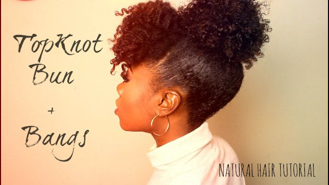 Easy Curly Bangs and Bun Tutorial for Natural Hair