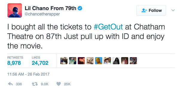 Chance The Rapper Buys All The Tickets For 'Get Out' At Southside Chicago Theater