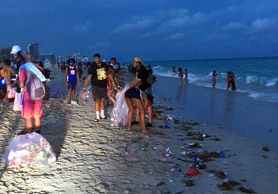 Black Fraternity Members Help Clean Up Mess After South Beach Spring Break Party