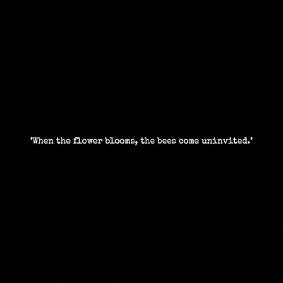 'When the flower blooms, the bees come uninvited.'